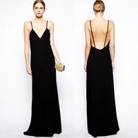Fashion spaghetti strap maxi size long chiffon dress sexy backless black evening dress sleeveless one-piece dress party gown