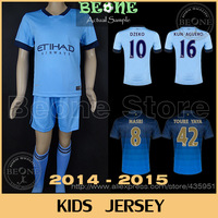 14 15 Kids Embroidery Thai quality SILVA AGUERO DZEKO NASRI Soccer jersey Youth /Boy Camisetas de futbol  / FREE Customize