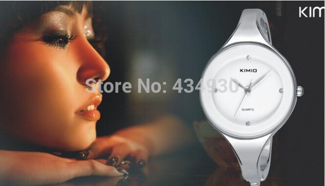 Новинка элегантных женщин круговой KIMIO кварцевые студенты из нержавеющей стали женские часы с браслетом подарок