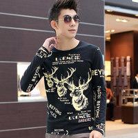 New Fashion men Christams Deer par pattern long sleeve tshirt/Slim muscle O-neck letter&animal t shirt hip hop camisa masculina