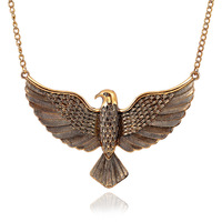 T097 Fashion Exaggeration The eagle wings Retro Necklace Sweater Chain