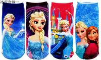 Christmas gift Frozen series children short socks Anna Elsa princess child Sock 12 styles kids baby boat socks free shipping