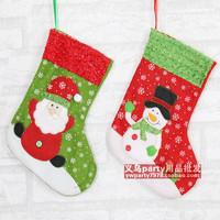 New arrival 26*19cm green&red Christmas stocking velvet Christmas sock christmas ornament decoracion navidad free shipping