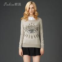 Rhinestone deco Eye pattern Sweater Jumper Women Pullovers HY-40819