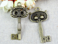 49.7*29MM Antique Bronze Vintage owl key pendant charm, DIY ZAKKA jewelry wholesale jewelry accessories, decorative metal keys