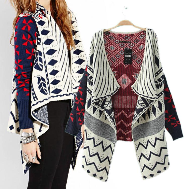 Drape Jacket Pattern Patterns Draped Female Long Sleeved Knit Cardigan Sweater Coat Jacket