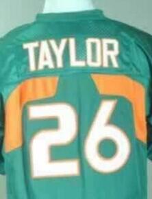 College Miami Hurricanes #26 Sean Taylor white/ green/ orange ncaa football jerseys size 48-56 mix order(China (Mainland))