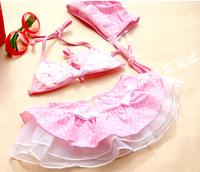 Leopard Pattern swimsuit gottex three-piece suit swimsuit children swimwear infant girl little split spa swimwear