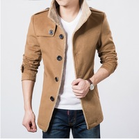 High quality 2014 winter new men's single-breasted collar thick woolen coat/winter jacket men size:M-3XL Free Shipping