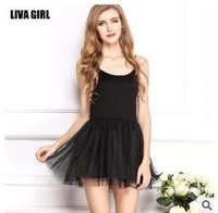 Wild new large plus size modal Lei mesh yarn harness mini sleeveless lace O- neck natural solid casual dress bottoming