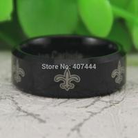 Free Shipping USA UK Canada Russia Brazil 8MM Comfort Fit Fleur De Lis Design Black Beveled Men's luxury Tungsten Wedding Ring