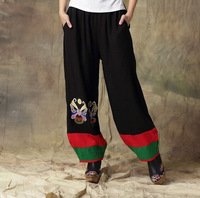 National wind women's Cotton and linen facebook embroidered pants bohemia style elastic waist long trousers E00117
