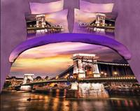 purple yellow white brown pink flowers city bridge Cotton queen size Duvet / Quilt Cover Bedding sets sheet pillowcase