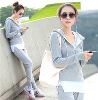 Black and gray hot sale women plus size tracksuits casual clothing set,slim fit jogging suits for women female sport suit