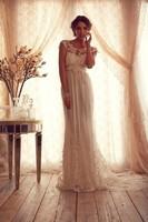 Cap Sleeves V-Back Long Lace Wedding Dresses Bridal Gowns Vestidos de Novia Custom Made 2014