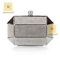 Nice 2014 New Arrive Eveningbag Luxury Diamond Clutch Handbags Iron Box Evening Bags Black/Silver&Gold