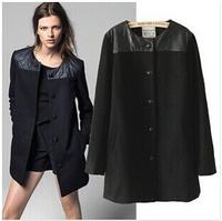 2014 NEW Single-breasted Luxury Splicing PU Woolen Cloth Coat