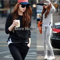 Black and gray hot sale plus size women slim fit autumn winter clothing set tracksuits,female sport suit sportswear jogging suit