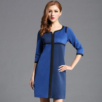 2014 new arrival fashion long-sleeve Blue plus size Slim women office dress casual long dresses women dress zex29