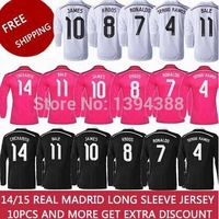 Ronaldo James 2015 Real Madrid long sleeve home white away pink black soccer jersey, BENZEMA top thai quality football uniforms