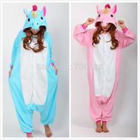 Christmas Halloween Blue/Pink Unicorn Onesie Carnival Costumes for Adults Women Men Fleece Party Pajamas Dresses Sleepwear