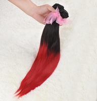 6A Ombre Brazilian Straight Hair 3pieces two tone brazilian virgin hair ombre weave 1b/99j 12''-28'' straight ombre virgin hair
