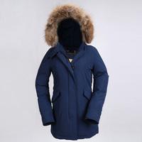 Woolrich Winter Jacket  Warm Large Fur Hooded Women Parka Duck Down Coat Medium-long Jackets Winter Wear Thicken High Quality