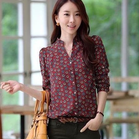 2014 spring Fall new ladies print shirt women blouses women blouse camisas blusas roupas femininas chiffon blouse clothing body(China (Mainland))