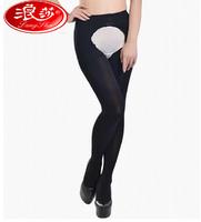Brand Langsha Porn Black Sexy Leggings Open Crotch Fashion Elastic Pantyhose Stockings 120D Velvet Warm Leggings Free shipping