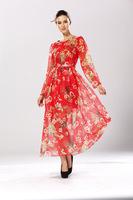Free Shipping New 2014 Fashion Women Korean Autumn Elegant Temperament O-Neck Long Sleeve Floral Print Plus Size Dress 58030