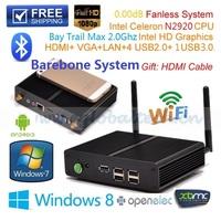 New Cheap Fanless HTPC Mini Desktop Barebone PC Bay Trail SOC Intel Celeron Quad Core 4 Thread N2920 Game Computer HDMI USB3.0