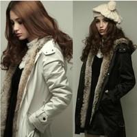 Winter women's 2014 thickening medium-long wadded jacket thermal slim elegant trench cotton-padded jacket overcoat