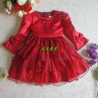 2014 children's new  girl dress  girl princess dress with long sleeves in children