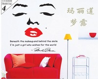 Free Shipping Removable bedroom television sofa background Marilyn Monroe PVC Home Decor Wall Stickeres