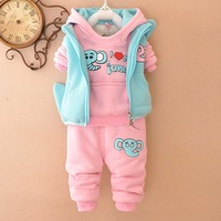 2014 New Fashion Cartoon Hello Kitty Baby Clothing Jumpsuit Warm Hoodie Soft Cartoon Bodysuit Romper Outfit 3PCS Baby Set