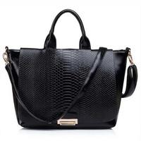 2014 New Fashion High Quality CROCO Design Cow Leather Handbag Composite Real Leather+PU Women Big Size Desigual Messenger Bag