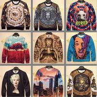 (Alice)2014 Fashion men's/women's sweatshirt 3D funny printed hoodies long sleeve pullover casual dress for men's W122-W139