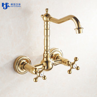 Huan Jie golden copper kitchen tap into the walls of the cold and hot water tap rotating water bath basin