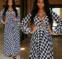 2014 New Autumn Women's Clothing Deep V neck Long Sleeve Houndstooth Plaid Print Chiffon Long Beach Dress vestido de festa longo