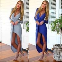 Fashion & Simple Cotton Swirl Twist Irregullar Women Beach Night Club Sexy Dress Long Sleeve Sexy Clothing V-neck