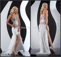 New Design Evening Dress Front Short Long Back Strapless Sleeveless Featheart Handmade Crystal Formal Party Evening Dresses