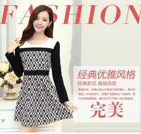 Free Shipping New 2014 Fashion Women Korean Autumn Elegant O-Neck Long Sleeve Slim Was Thin Temperament Floral Print Dress 6111