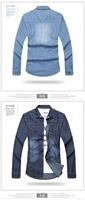 Free shipping 2014 new full sleeve shirt casual slim fit men shirt popular jean shirt Fabrics is comfortable high quality