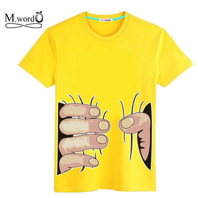 2015 High quality 100% cotton men Big size 4xl summer New o-neck T shirt 3D Big Hand printing men shirt Tops Tees(China (Mainland))