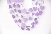 50ft  5*5.5cm lavender love heart paper garlands handmade balloon hanging string  wedding baby shower wooden bridal decoration
