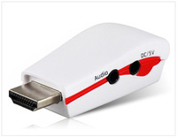 HDTV 1080P Mini HDMI to VGA RGB Video White Converter Box Adapter with Audio AV Cable For apple For XBOX360 For PS3 PC