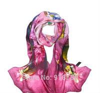 100% mulerry silk pure silk scarf 170cm*50cm long  scarf ,bright roseo print   new arrival digital printing scarves