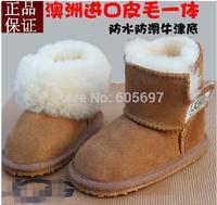 2014 winter new boys and girls Non-slip warm kids Cotton shoes Australia boots Natural Sheepskin wool-one children snows boots,