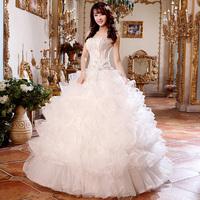 Lace sequins the new 2014 strapless princess with bitter fleabane bitter fleabane skirt together High-end wedding dress
