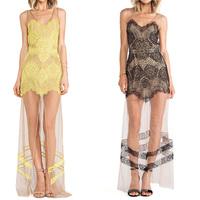 New 2014 Summer Womens Dresses Sexy V-neck Yellow and Black Floor-Length Perspective Dress Lace Vestido De Fiesta Elegante
